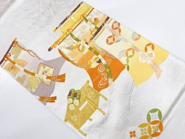 【IDnet】 几帳に鴛鴦・七宝模様織出し袋帯【リサイクル】【中古】【着】