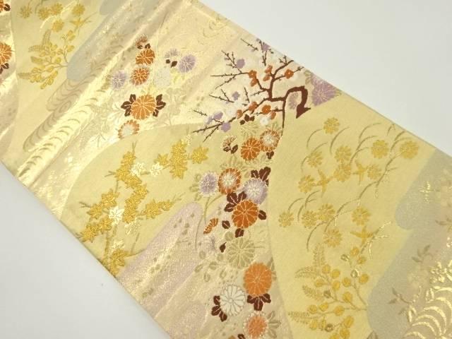 【IDnet】 本金遠山に菊・梅模様織り出し袋帯【リサイクル】【中古】【着】