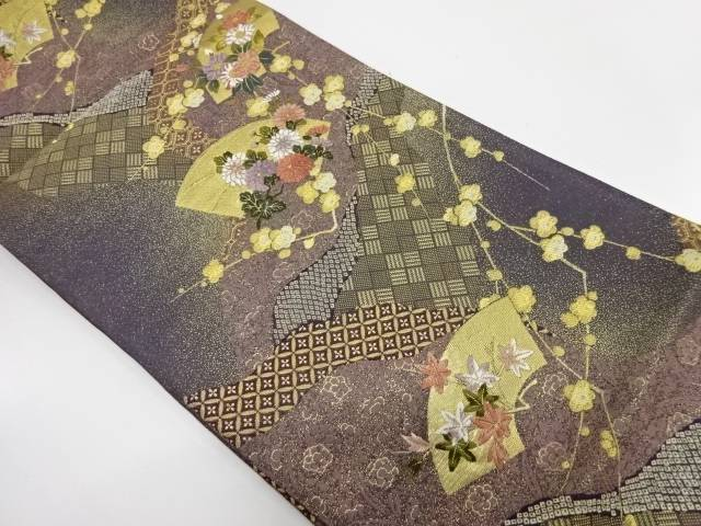 【IDnet】 地紙に草花・古典柄模様織出し袋帯【リサイクル】【中古】【着】