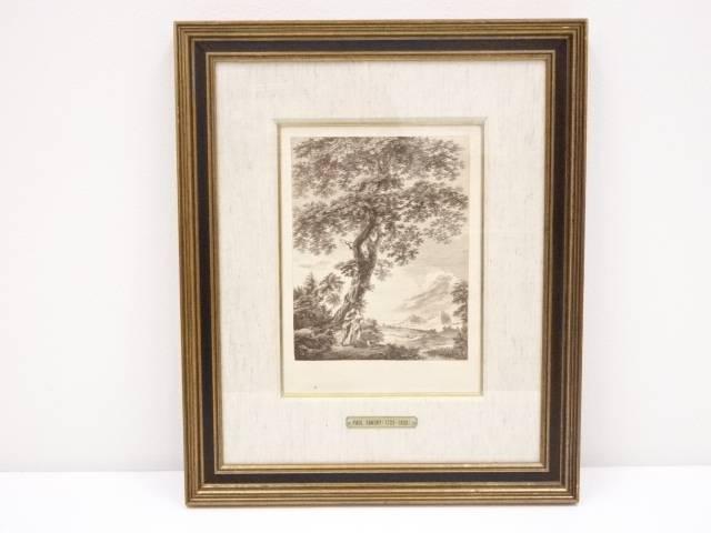 【IDnet】 絵画 ポール・サンドビー 「大木の下に男女と犬」 銅版画 額装【中古】【道】