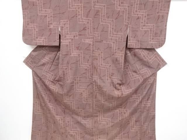 【アイディーネットのリサイクル・アンティーク着物 茶道具】 【IDnet】 板締め絞り幾何学模様手織り紬着物【リサイクル】【中古】【着】