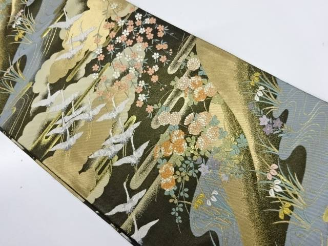 【IDnet】 服部織物製 群鶴に秋草模様織出し袋帯【リサイクル】【中古】【着】