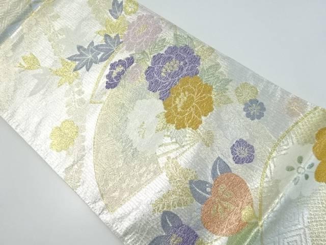 【IDnet】 引き箔扇に牡丹・橘模様織り出し袋帯【リサイクル】【中古】【着】