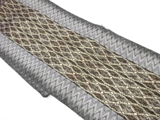 【IDnet】 組織縞に抽象模様織出し名古屋帯【リサイクル】【中古】【着】