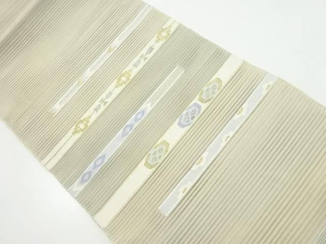 【IDnet】 絽綴れ横段に花菱模様織り出し名古屋帯【リサイクル】【中古】【着】