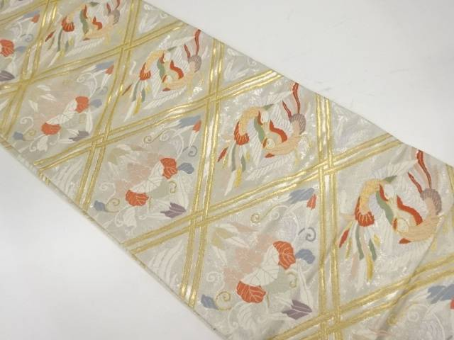 【IDnet】 襷に向かい鳥・草花模様織出し袋帯【リサイクル】【中古】【着】
