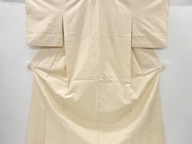 【IDnet】 亀甲に十字絣織出手織り紬単衣着物【リサイクル】【中古】【着】
