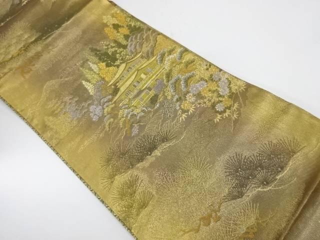 【IDnet】 松に草花・金閣寺模様織出し袋帯【リサイクル】【中古】【着】