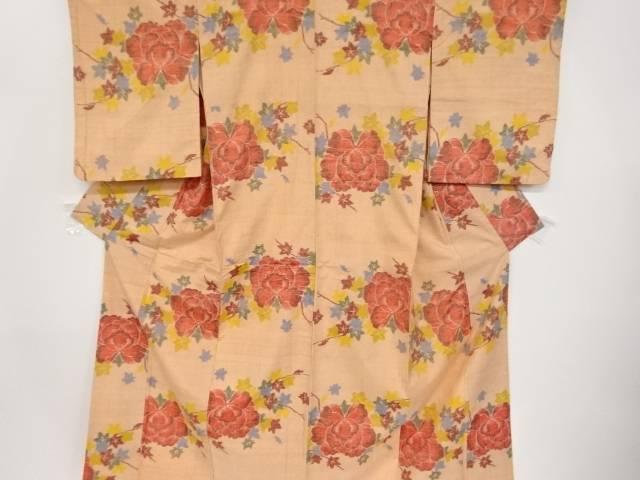 【IDnet】 楓に牡丹模様織り出し手織り真綿紬着物【リサイクル】【中古】【着】