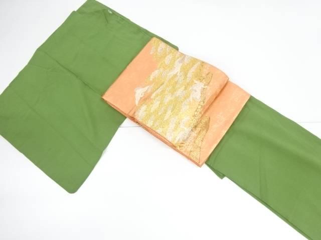 【IDnet】 草木染一つ紋色無地着物・袋帯セット【リサイクル】【中古】【着】