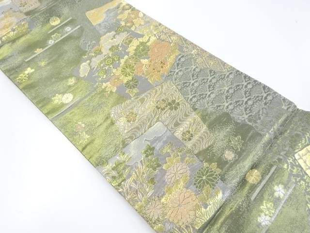 【IDnet】 金糸引箔色紙に花模様織出袋帯【リサイクル】【中古】【着】