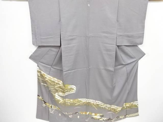 【IDnet】 金通し熨斗に横笛・花模様刺繍一つ紋色留袖【リサイクル】【中古】【着】
