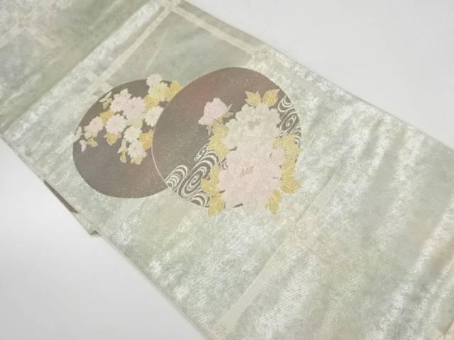 【IDnet】 丸紋に流水・草花模様織出し袋帯【リサイクル】【中古】【着】