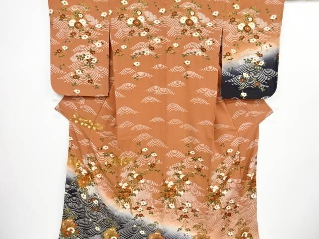 【IDnet】 金彩破れ色紙に菊・牡丹模様刺繍訪問着【リサイクル】【中古】【着】