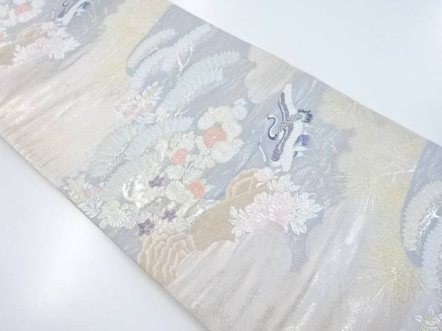 【IDnet】 鶴に松菊牡丹模様織出袋帯【リサイクル】【中古】【着】