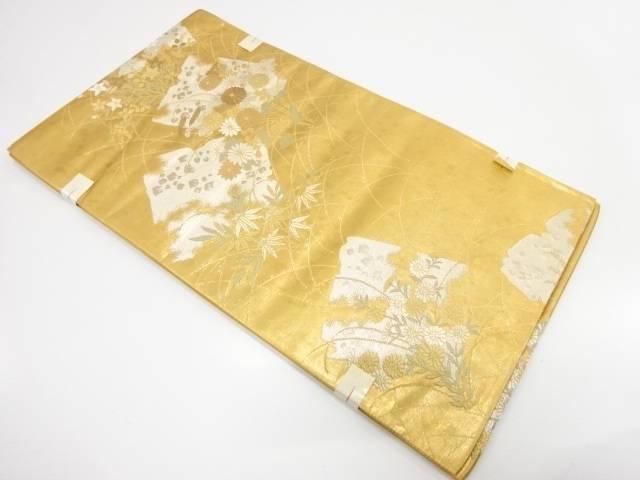 【IDnet】 未使用品 破れ色紙に草花模様織出し袋帯【リサイクル】【着】