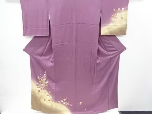 【IDnet】 金彩枝梅に桜貝桶模様刺繍訪問着【リサイクル】【中古】【着】