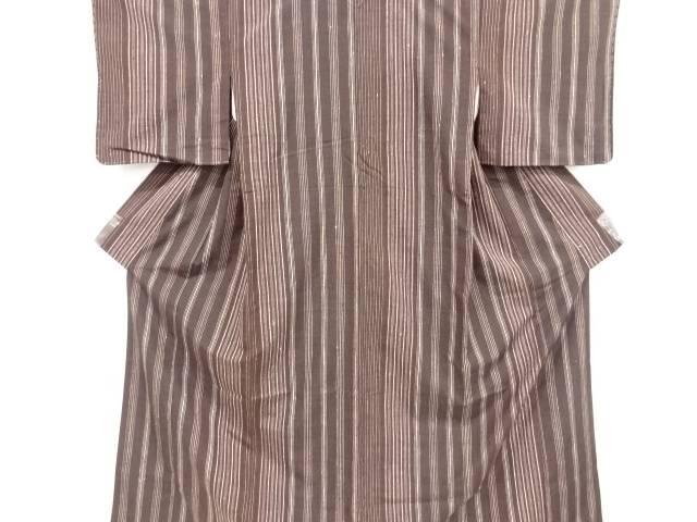 【IDnet】 未使用品 仕立て上がり 縞織り出し手織り真綿紬着物【着】