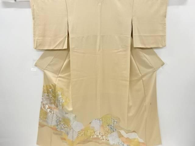【IDnet】 作家物 金彩道長取りに格子模様刺繍一つ紋色留袖【リサイクル】【中古】【着】