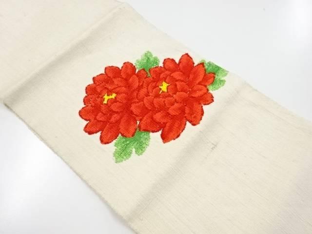 【IDnet】 手織り真綿紬菊模様織出名古屋帯【リサイクル】【中古】【着】