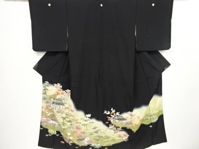 【IDnet】 作家物 金通し屋敷に庭園風景模様留袖(比翼付き)【リサイクル】【中古】【着】