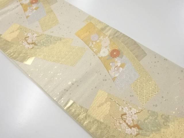 【IDnet】 本金短冊に鴛鴦・菊模様織出袋帯【リサイクル】【中古】【着】