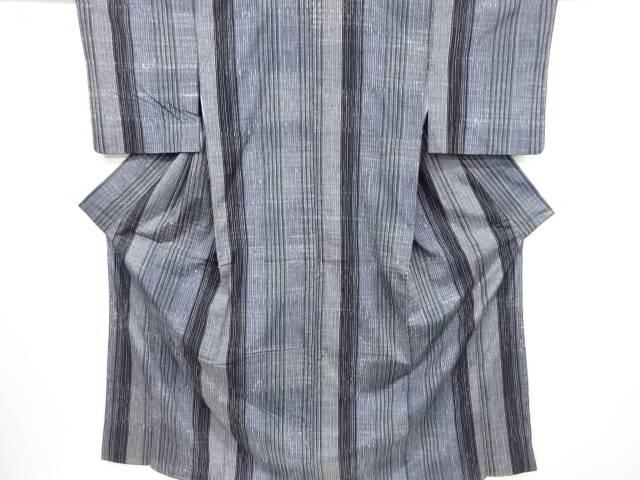 【IDnet】 本藍手絞り縞織り出し手織り真綿紬着物【リサイクル】【中古】【着】