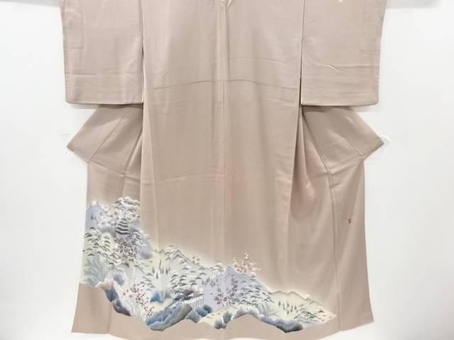 【IDnet】 作家物 手描友禅寺塔に松竹梅模様三つ紋色留袖(比翼付き)【リサイクル】【中古】【着】