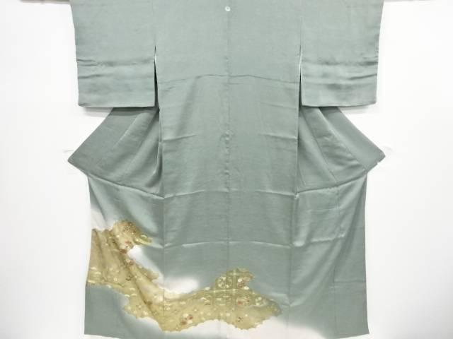 【IDnet】 箔置き逆雲取りに花丸文様刺繍一つ紋色留袖(比翼付き)【リサイクル】【中古】【着】