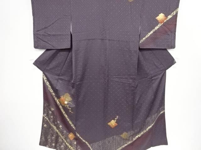【IDnet】 金彩絞り松皮菱に秋草模様刺繍訪問着【リサイクル】【中古】【着】