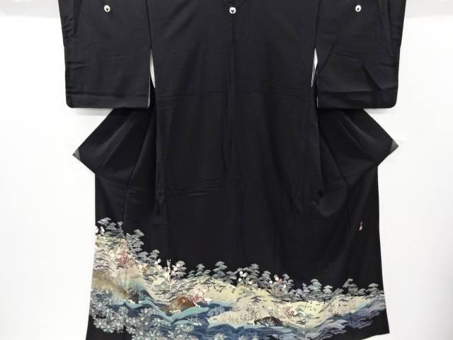 【IDnet】 作家物 手描友禅海岸風景模様留袖(比翼付き)【リサイクル】【中古】【着】