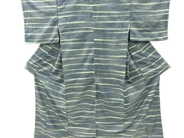 【IDnet】 作家物 創作手織り紬横段織り出し着物【リサイクル】【中古】【着】