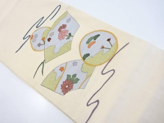 【IDnet】 明綴れ地紙に牡丹菊模様織出袋帯【リサイクル】【中古】【着】