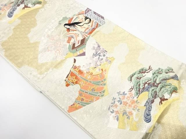 【IDnet】 地紙に十二単・松模様織出し袋帯【リサイクル】【中古】【着】