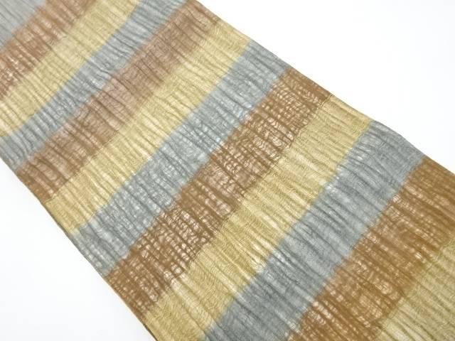 【IDnet】 紗紬すくい織横段織り出し全通袋帯【リサイクル】【中古】【着】