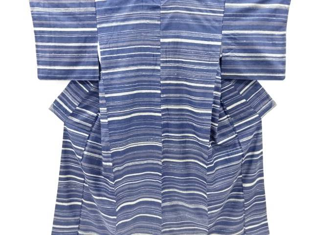 【IDnet】 創作手織り真綿紬本藍染横段織り出し着物【リサイクル】【中古】【着】