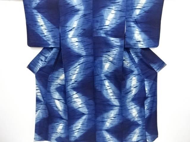 【IDnet】 作家物 本藍染 氷割れ模様小紋着物【リサイクル】【中古】【着】