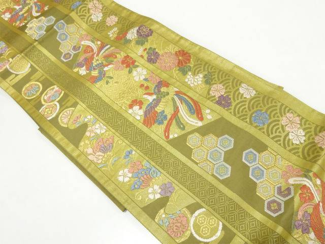 【IDnet】 唐織縞に古典柄・花鳥模様織出し袋帯【リサイクル】【中古】【着】