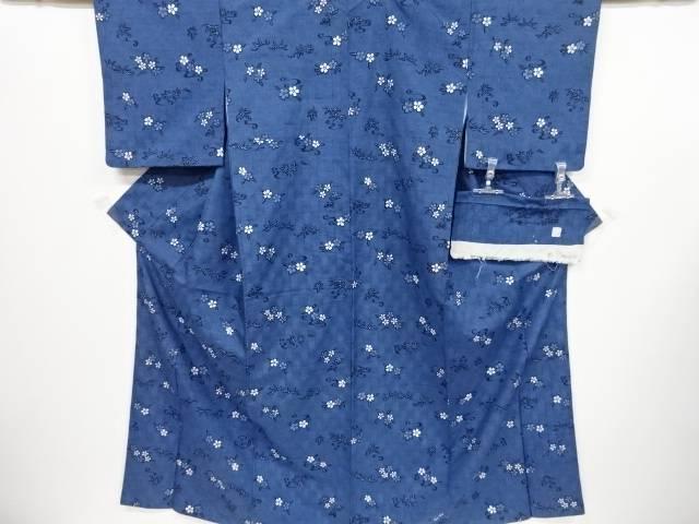 【IDnet】 作家物 本場琉球藍型 桜に笹・楓模様手織り紬着物【リサイクル】【中古】【着】