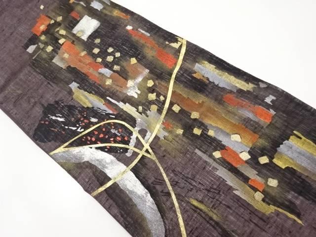【IDnet】 紗紬手描き抽象模様袋帯【リサイクル】【中古】【着】