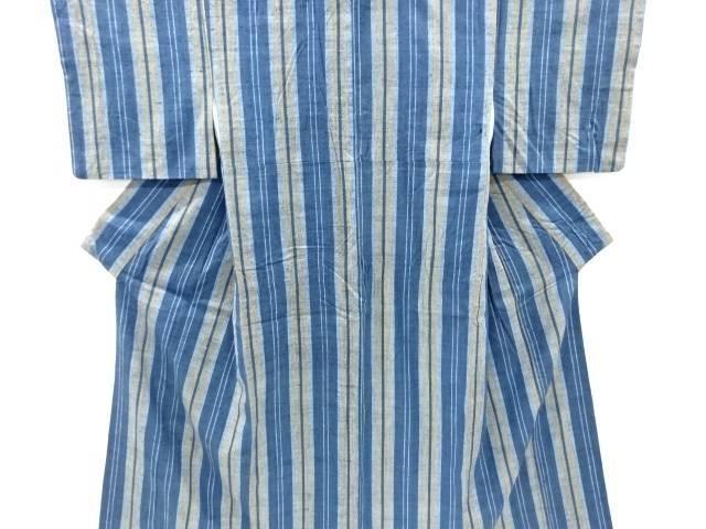 【IDnet】 作家物 創作手織り真綿紬縞織り出し着物【リサイクル】【中古】【着】