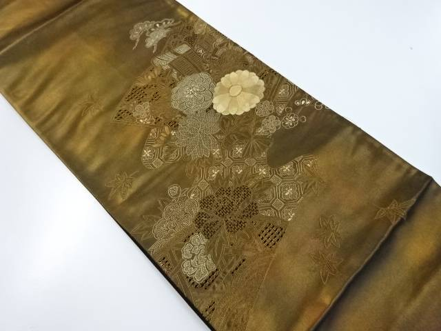 【IDnet】 未使用品 汕頭蘇州刺繍牡丹・菊模様袋帯(未仕立て)【リサイクル】【着】