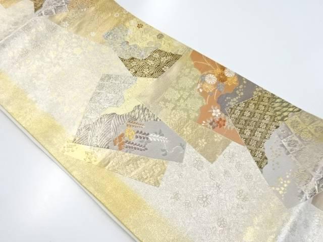 【IDnet】 本金色紙に菊・藤・古典柄織り出し袋帯【リサイクル】【中古】【着】