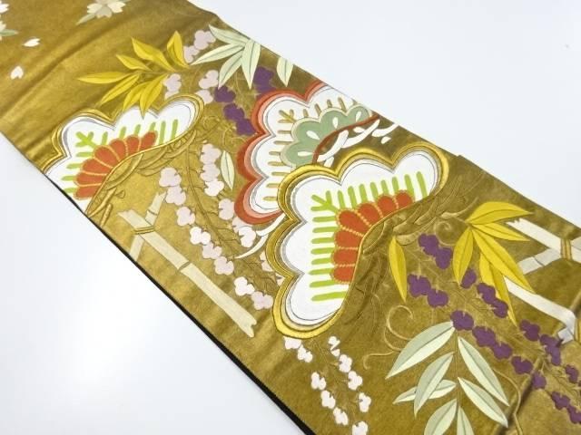 【IDnet】 シルク箔松竹梅に藤模様刺繍袋帯【リサイクル】【中古】【着】