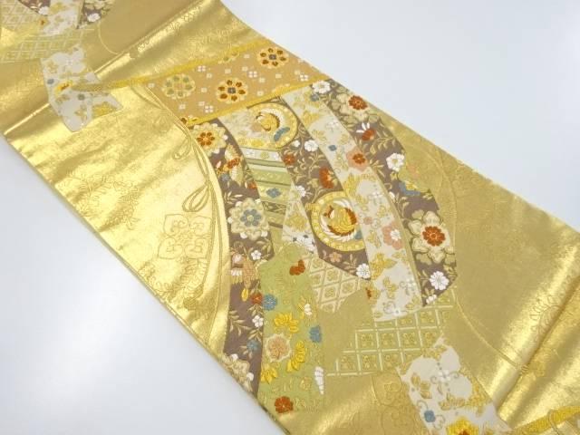 【IDnet】 本金几帳に花鳥模様織り出し袋帯【リサイクル】【中古】【着】