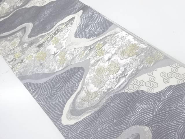 【IDnet】 荒波に花鳥模様織出し袋帯【リサイクル】【中古】【着】