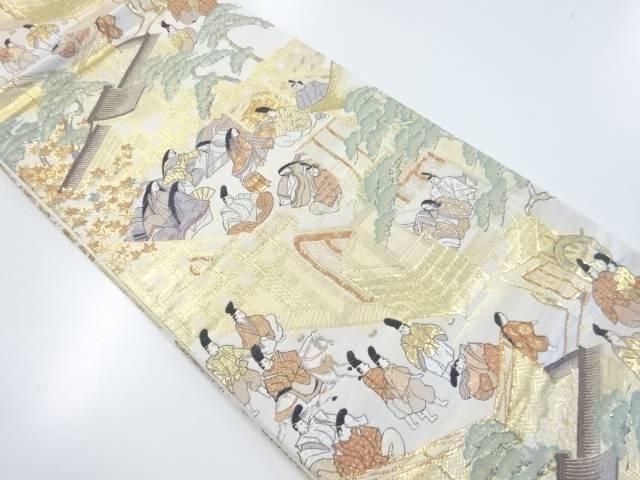 【IDnet】 本金時代人物風景模様織り出し袋帯【リサイクル】【中古】【着】