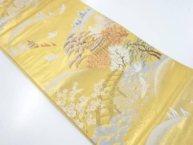 【IDnet】 本金箔清水寺に群鶴模様織り出し袋帯【リサイクル】【中古】【着】