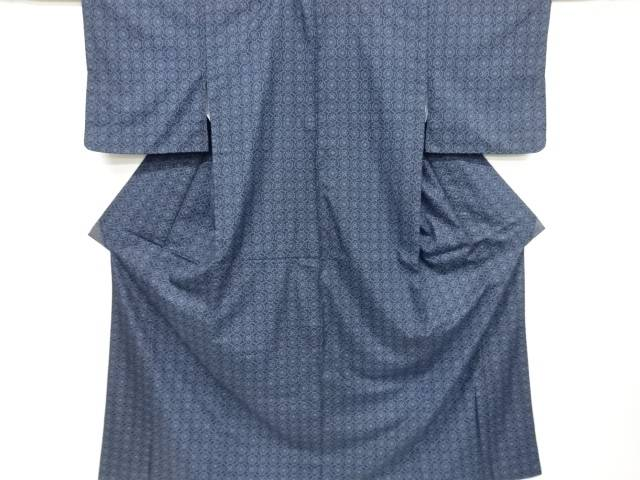 【IDnet】 斜め格子に華紋織り出し本場村山大島紬着物【リサイクル】【中古】【着】