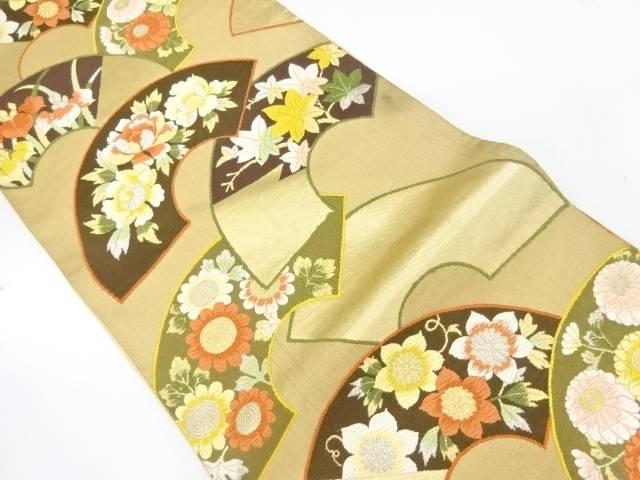 【IDnet】 地紙に花模様織出し袋帯【リサイクル】【中古】【着】